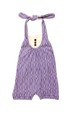 Violet/Vanilla 'Trellis' Printed Halter Sunsuit