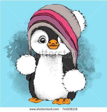 ein Cartoon-Pinguin in einem Hut. Charakter für Weihnachten und Silvester Design. Vektor-Illustration - #CartoonPinguin #Charakter #design #Ein #einem #für #Hut #Silvester #und #Vektorillustration #Weihnachten