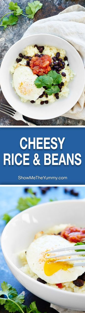 This Cheesy Rice and Beans Recipe is an easy vegetarian, gluten free breakfast or dinner! Black beans & fried eggs makes this dish full of protein! showmetheyummy.com #breakfast #vegetarian