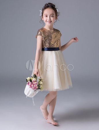 830f81f3902 Flower Girl Dresses Sequin Ivory Ribbon Sash Short Princess Pageant Party  Dresses