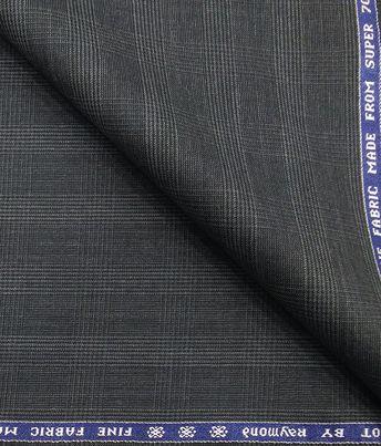 fa9ea3886 Raymond Dark Grey 35% Merino Wool Super 70 s Self Checks Unstitched Suit  Fabric (3.25