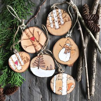 Absolutely adorable hand-painted snowman ornament. This is a new design for 2017 -- weve retired last years snowman. The scene was created using a wood burning tool and is hand painted with white acrylic paint. Choose the Add custom text option to add some custom text to the front or