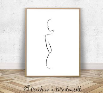Woman Body Print | Naked Girl Drawing | Female Form Art | Artistic Nude Woman Poster | Fine Line Dra