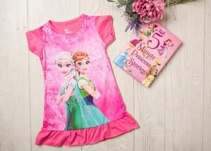 Disney Princess Ellsa and Anna Night Gown Night Shirt  Schools outs and summer is in! For all her slumber party needs, get these adorable princess inspired nightgowns. Pick from many her favorite princesses and she will dream happy with her favorite girl squad.