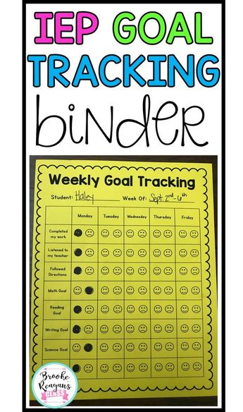 IEP goal tracking is the number one way to track student progress in special education. This binder is a must have and can be used in any type of special education classroom.