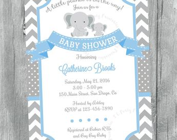Elephant Baby Shower Invitation It S A Girl Elephant Ch
