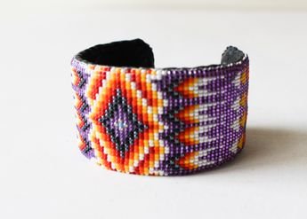 Navajo Made Beaded Cuff- Purple Feather