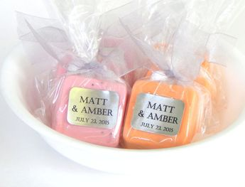 soap pink and orange wedding favors baby shower favors orange and pink party favors spring wedding
