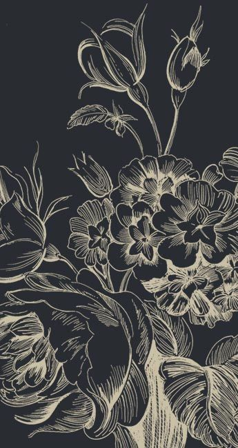 Black floral | Find fun fabrics for your next project www.myfabricdesigns.com | Botanical Art, Botanical Line Drawing, Botanical Wallpaper, Scratch Art, Black Iphone Background, Black And White Wallpaper Iphone, Luxury Background, Black Flowers Wallpaper, Moody Wallpaper