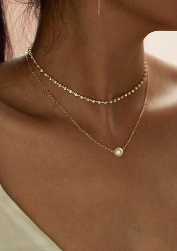 Faux Pearl Pendant Necklace and Rhinestone Choker - 2pc