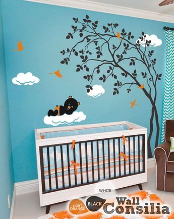 Leaning tree wall decal with Bear and Clouds - Nursery vinyl decal
