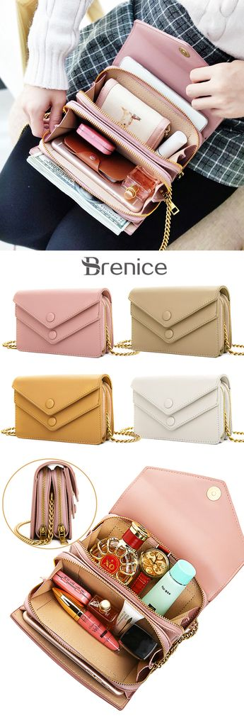 【US$ 28.85】Women Multi-Pocket Casual Phone Purse Solid PU Leather Crossbody Bag Chain Shoulder Bag #bags #crossbodybags #messagerbags #envelopebag
