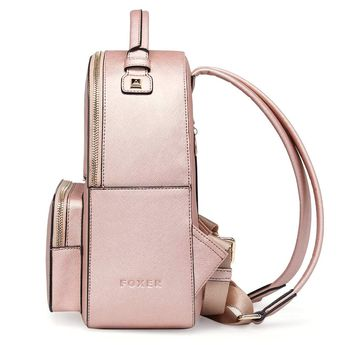 FOXER Women Leather Backpack Purse Small Backpack Casual Shoulder Schoolbag    Visit the image link more 6e35cc3245