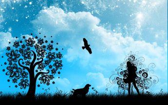 Blue silhouette girl (1920x1200, silhouette, girl)  via www.allwallpaper.in