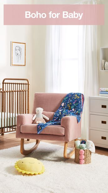 If your home has an eclectic vibe, bring that bohemian style into your nursery with furniture and decor with bold color and texture.