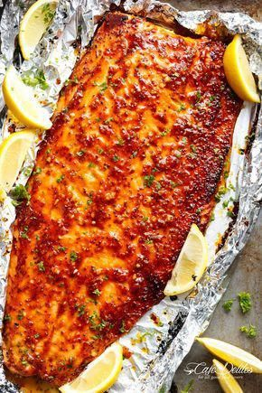 Garlic Butter Honey Mustard Salmon In Foil is a quick and easy salmon recipe, leaving you with no pans to wash and a juicy salmon for your dinner table! #fishrecipes
