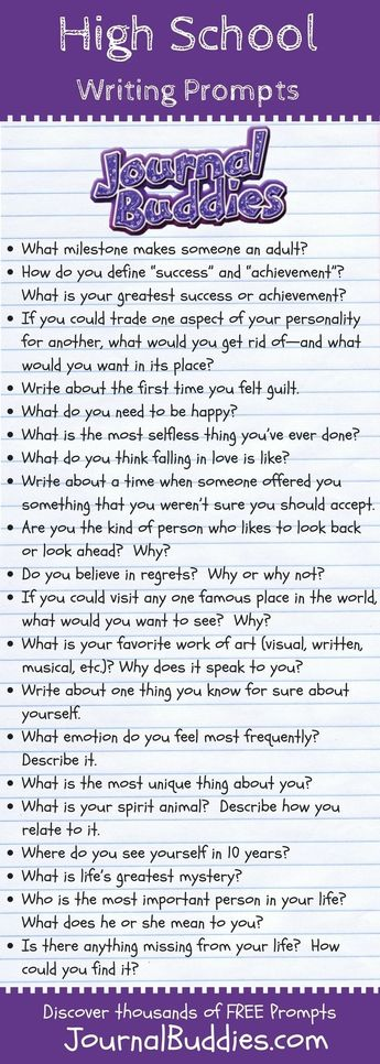 Great Writing Prompts for High School Students