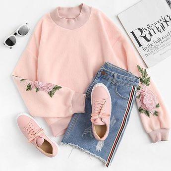 loveeeeee pink. shop link in bio. (SKU: rswe171122055 US$11.99 ) #romwesweatshirt #rose #embroidered