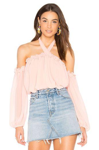 ecbfd617215 MISA Los Angeles Livey Halter Off Shoulder Ruffle Blouse Top Coral Pink M  $194