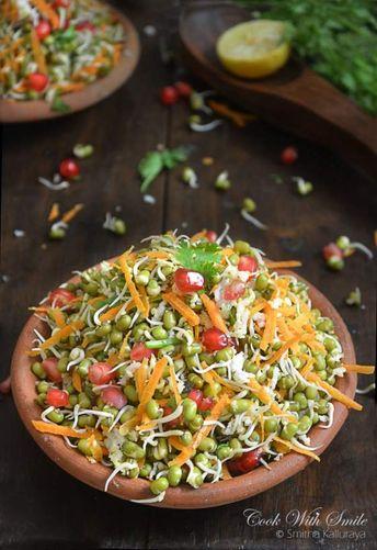 Sprouted moong salad / moong kosambri