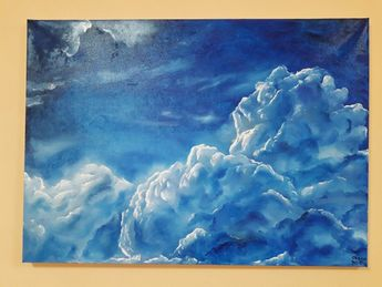"""Oil Painting,Sky Landscape 20""""x27.5"""" Holiday Gift, Blue Clouds"""