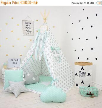Teepee Set Kids Play Tent Tipi Kid Play Teepee Child Teepee Wigwam Zelt Tente KIDS lamp glow READING SPOT with light - Mint Breeze