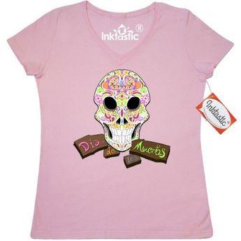ec2e3cb52 Inktastic Dia De Los Muertos Calavera Skull Women's V-Neck T-Shirt Mexico  Day