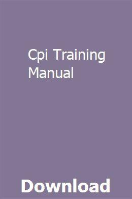 Cpi Training Manual pdf download