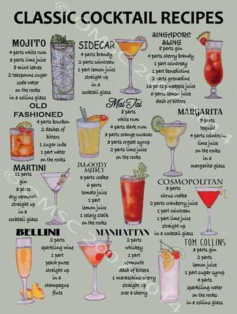 Classic Cocktail Recipes Metal Sign, Mancave, Retro Bar, Pub,Den Decor, Alcohol