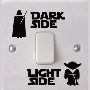 Funny Vinyl Switch Stickers Decal STAR Wars Dark Light Side Star Classic Film light switch sticker,