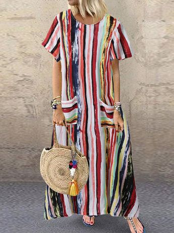 Hot saleMulticolor Stripe Loose Short Sleeve Vintage Dress Cheap - NewChic