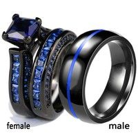 Couple Ring - His Black Titanium Steel Men''s Ring and Her Blue Sapphire Women''s Wedding Engagement Ring Set