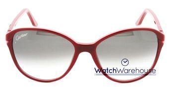 69cfebe2ad9 Cartier Double C Décor Burgundy Composite Women s Sunglasses ESW00111