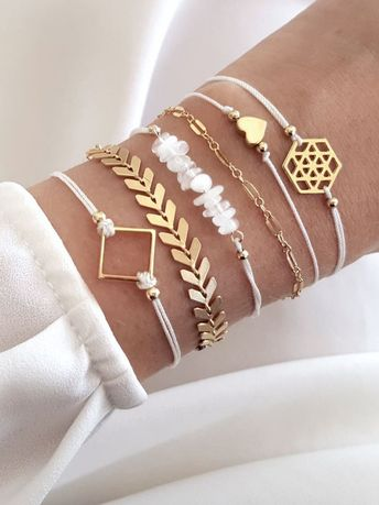 Square & Stone Detail Bracelet Set 6pcs