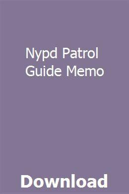 Nypd Patrol Guide Memo pdf download