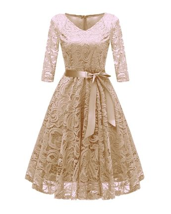 6cc1a2c70591 Anninice Women's V-Neck Vintage Sexy Full Lace Big Swing Dress (Long  Sleeves and