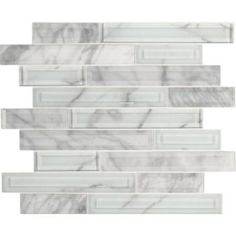 MSI Ice Bevel Subway 11.73 in. x 11.73 in. x 8mm Glass Mesh-Mounted Mosaic Tile (9.6 sq. ft. / case), White