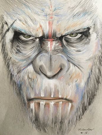 Caesar Planet of the Apes pencil drawing by billyboyuk