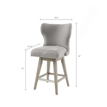 76f57598597 Madison Park Irvine High Wingback Button Tufted Upholstered 27-Inch Swivel  Counter Bar Stool with