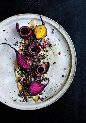 Great color. Food on a #DarkBackground, again. LOVE. Lav mad som noma derhjemme - Gastro