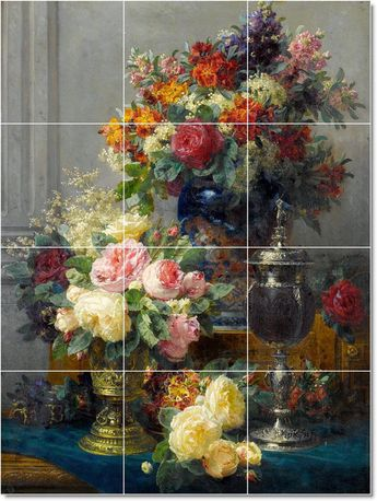 S-M-L-XL Custom Ceramic Flowers Painting Tile Mural. Floral19 By Jean Baptiste Robie