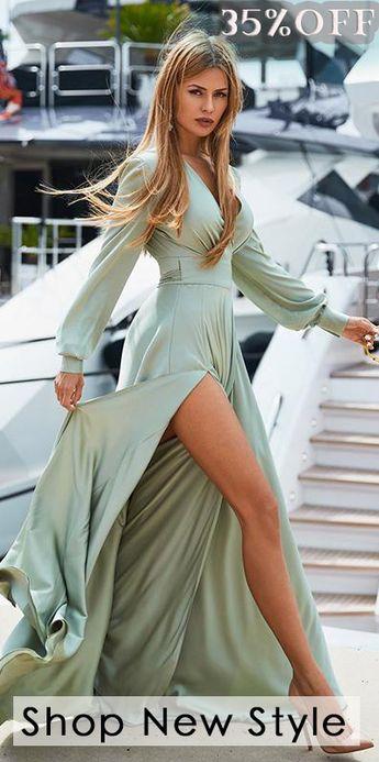 V-neck Long Sleeves Solid Color Belted Maxi Evening Dress
