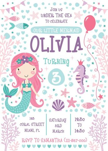 Mermaid party invitation | Kids birthday invitation | Printable invitation | Mermaid party invite