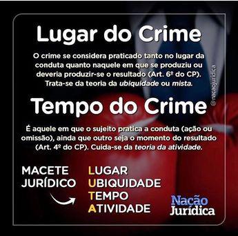Direito Penal - tempo do crime - lugar do crime - macete jurídico - Dica OAB - Nação Jurídica