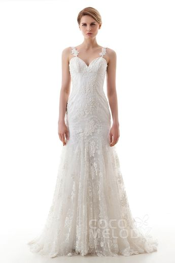 a8a9f905ae Trumpet-Mermaid Sweep-Brush Train Lace Wedding Dress LWVT1402A