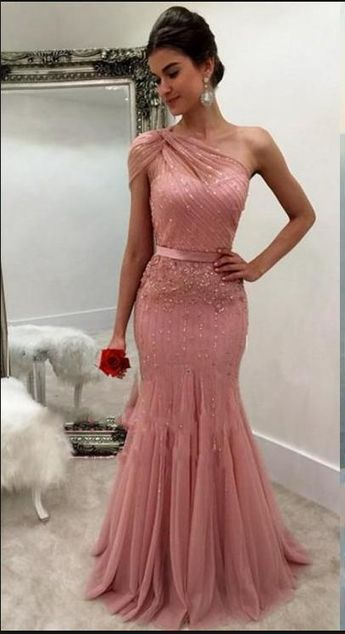 51c7ecab39b4 Dusty Rose Formal Dresses Evening Wear One Shoulder Beaded Mermaid Long  Arabic Prom Party Special Occasion