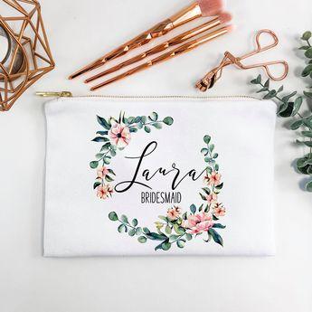 Personalized Makeup Bag, Bridesmaids Gift, Makeup Bag, Canvas Bag, Tote With Zipper, Makeup Tote, Cosmetic Bag, Maid of Honor Gift