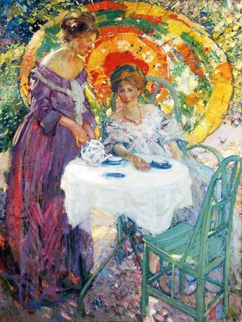 Afternoon Tea by Richard E. Miller mono deluxe Needlepoint Canvas