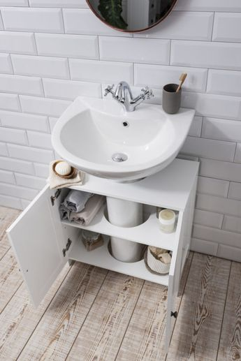 Details about Bathroom Sink Cabinet Undersink in White Stow