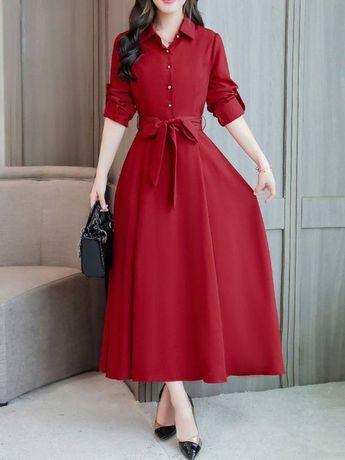 Shirt Collar Maxi Dress A-line Daytime Dress Half Sleeve Linen Bow Maxi Dresses
